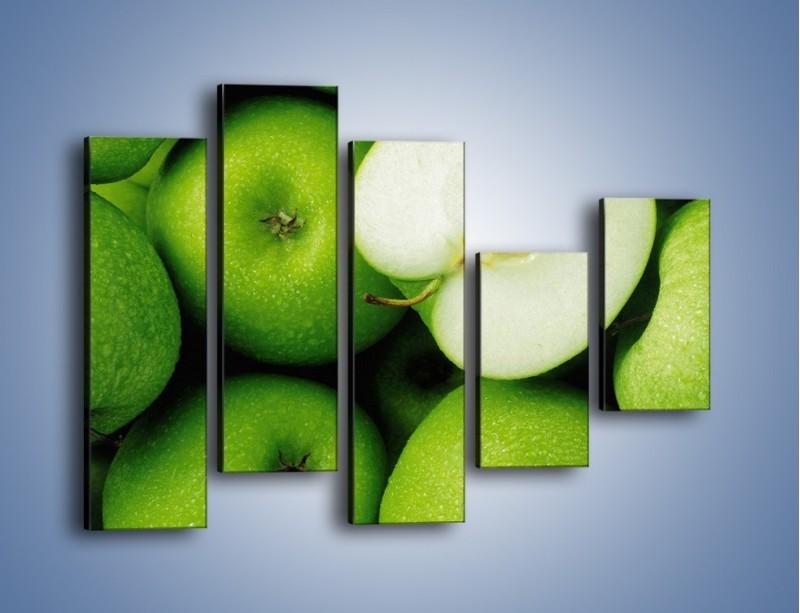 Obraz na płótnie – Zielone jabłuszka – pięcioczęściowy JN039W4