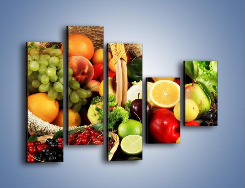 Obraz na płótnie – Kosz pełen owocowo-warzywnego zdrowia – pięcioczęściowy JN059W4