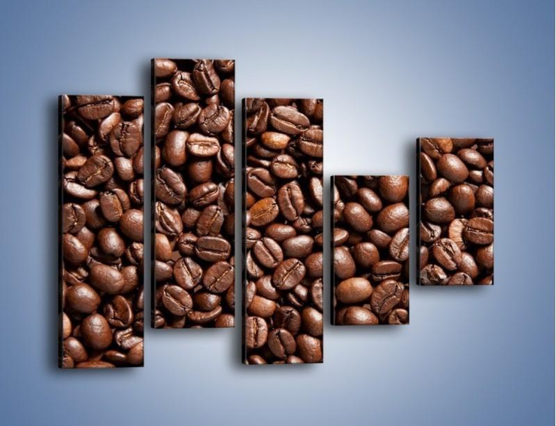Obraz na płótnie – Ziarna świeżej kawy – pięcioczęściowy JN061W4
