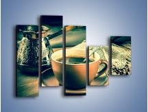 Obraz na płótnie – Czarna kawa arabica – pięcioczęściowy JN064W4