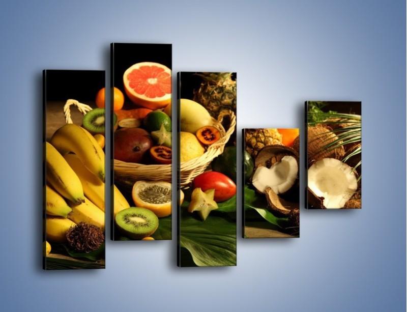 Obraz na płótnie – Kosz egzotycznych owoców – pięcioczęściowy JN074W4