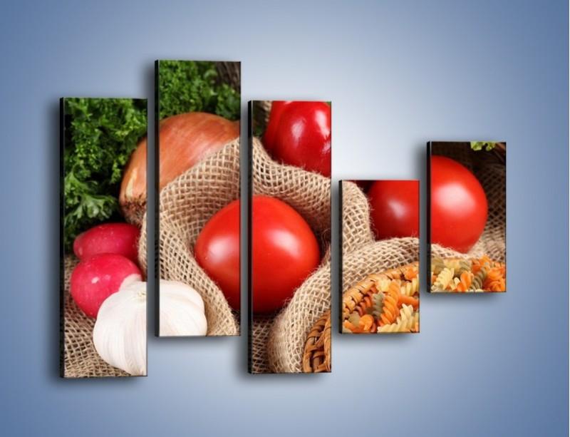 Obraz na płótnie – Makaron z warzywami – pięcioczęściowy JN076W4