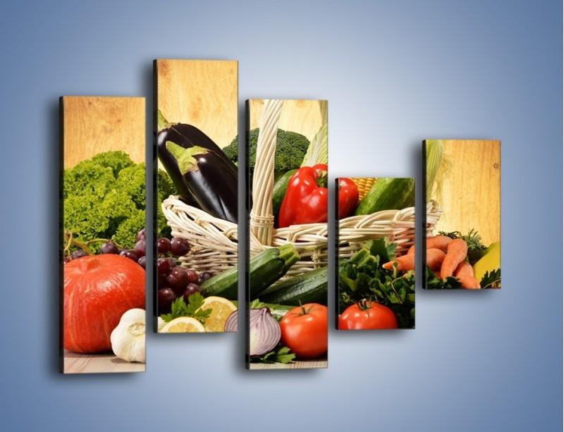 Obraz na płótnie – Kosz pełen warzywnych witamin – pięcioczęściowy JN081W4