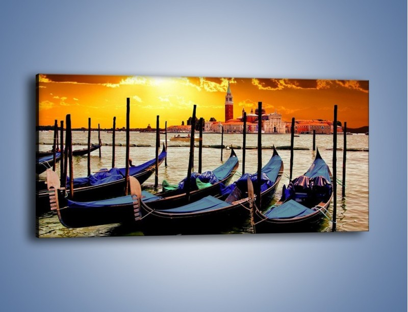Obraz na płótnie – Widok z łódki – jednoczęściowy panoramiczny KN1205A