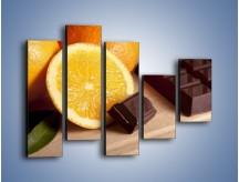 Obraz na płótnie – Czekoladowo-pomarańczowa rozkosz – pięcioczęściowy JN094W4