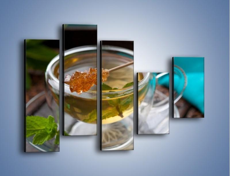 Obraz na płótnie – Oczyszczająca zielona herbata – pięcioczęściowy JN104W4