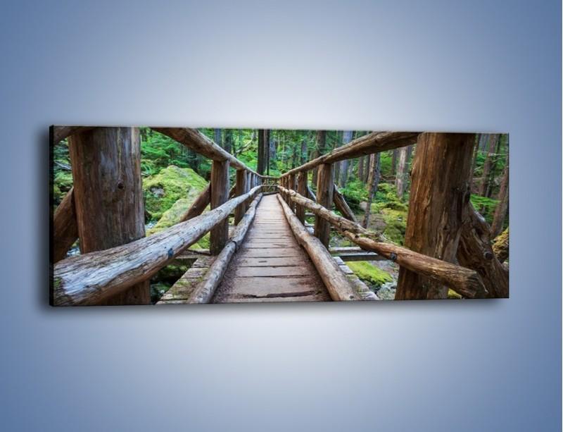 Obraz na płótnie – Mostek z drewnianych bali – jednoczęściowy panoramiczny KN1207A
