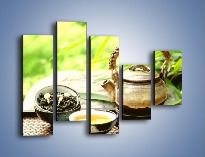 Obraz na płótnie – Herbata na świeżym powietrzu – pięcioczęściowy JN249W4