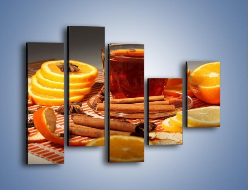 Obraz na płótnie – Imbirowo-pomarańczowe rozluźnienie – pięcioczęściowy JN260W4