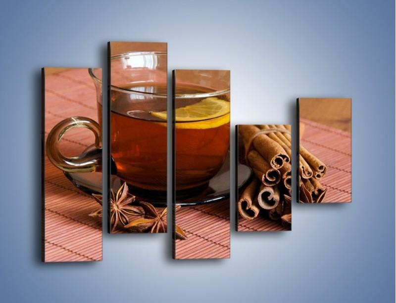 Obraz na płótnie – Rozgrzewająca filiżanka herbaty – pięcioczęściowy JN266W4