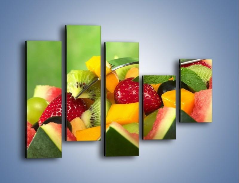 Obraz na płótnie – Arbuzowa misa z owocami – pięcioczęściowy JN274W4