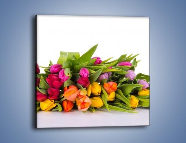 Obraz na płótnie – Kolorowe tulipany pełne luzu – jednoczęściowy kwadratowy K117