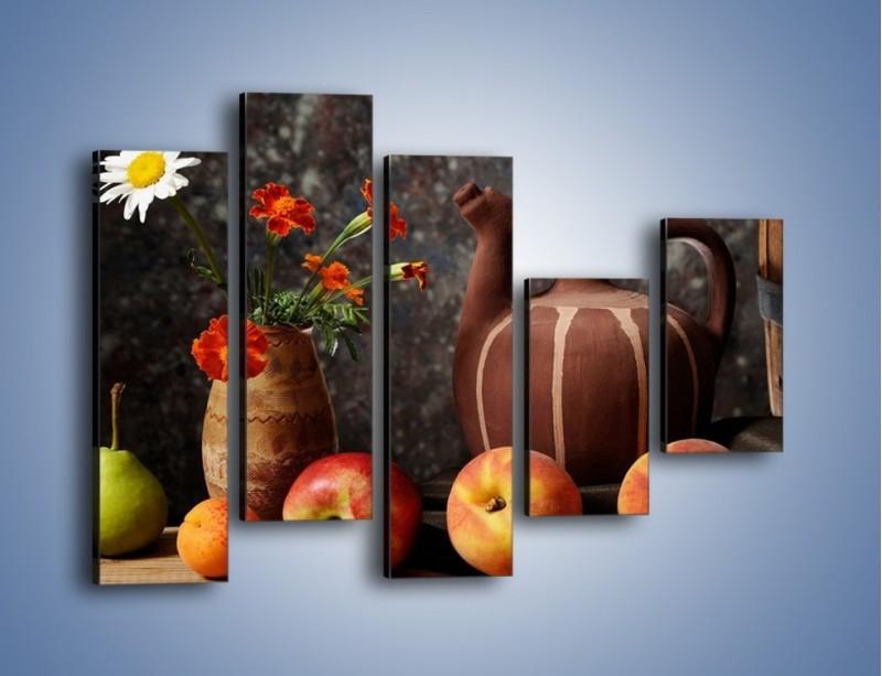 Obraz na płótnie – Kwiaty wśród owoców – pięcioczęściowy JN280W4