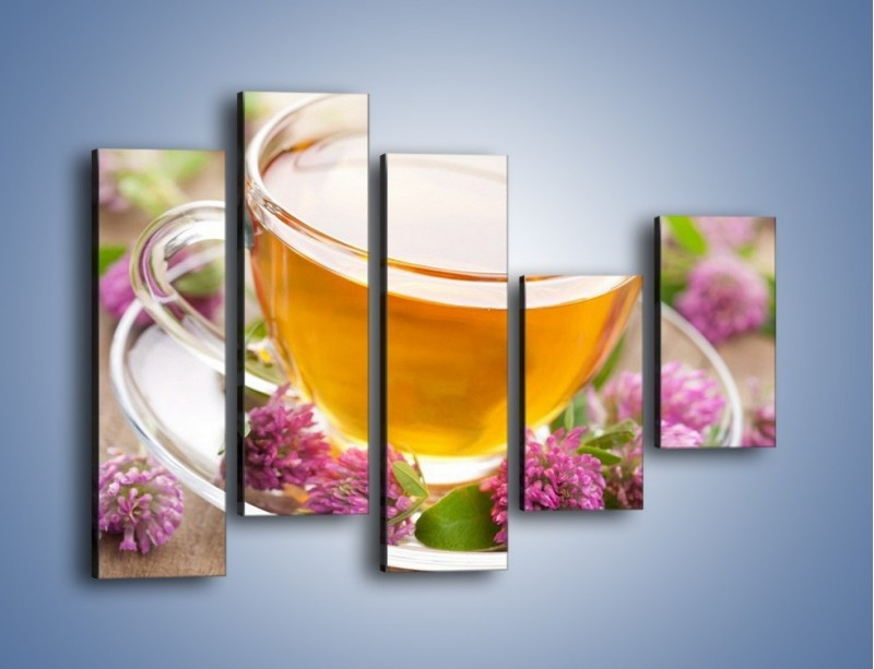 Obraz na płótnie – Herbata z kwiatami – pięcioczęściowy JN283W4