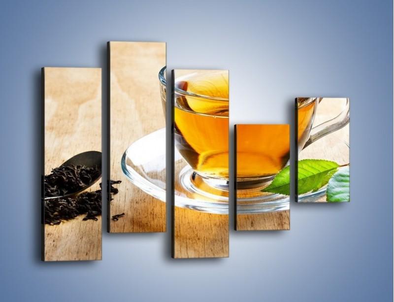 Obraz na płótnie – Listek mięty dla orzeźwienia herbaty – pięcioczęściowy JN290W4