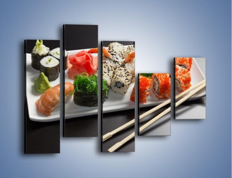 Obraz na płótnie – Kuchnia azjatycka na półmisku – pięcioczęściowy JN295W4
