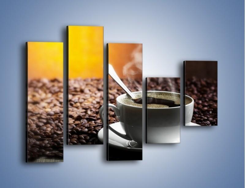 Obraz na płótnie – Aromatyczna filiżanka kawy – pięcioczęściowy JN298W4