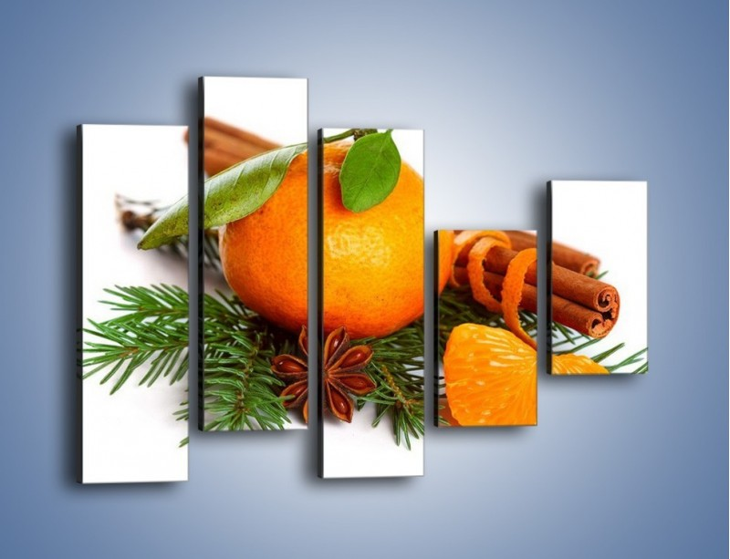 Obraz na płótnie – Pomarańcza na święta – pięcioczęściowy JN306W4