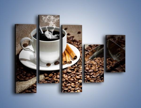 Obraz na płótnie – Czarna palona kawa – pięcioczęściowy JN311W4