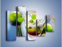Obraz na płótnie – Limonkowy drink z miętą – pięcioczęściowy JN325W4