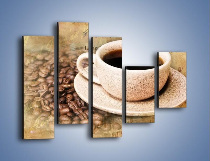 Obraz na płótnie – List przy filiżance kawy – pięcioczęściowy JN347W4