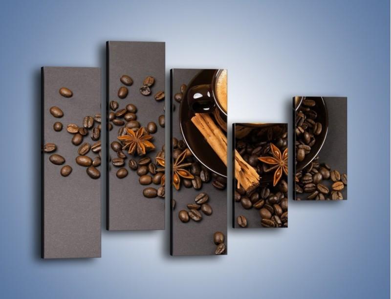Obraz na płótnie – Kawa z goździkiem – pięcioczęściowy JN349W4