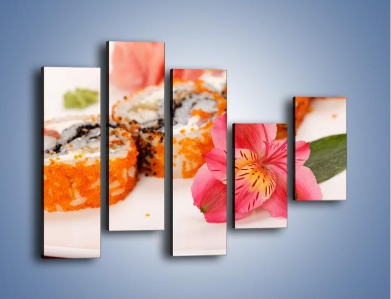 Obraz na płótnie – Sushi z kwiatem – pięcioczęściowy JN354W4
