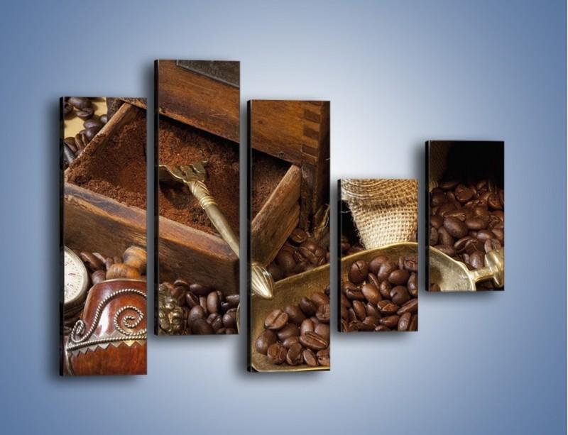 Obraz na płótnie – Szuflada pełna kawy – pięcioczęściowy JN356W4