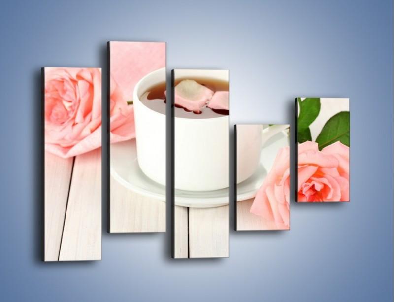 Obraz na płótnie – Herbata wśród róż – pięcioczęściowy JN369W4