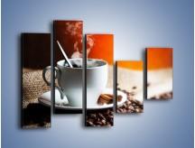 Obraz na płótnie – Aromatyczny zapach kawy – pięcioczęściowy JN374W4