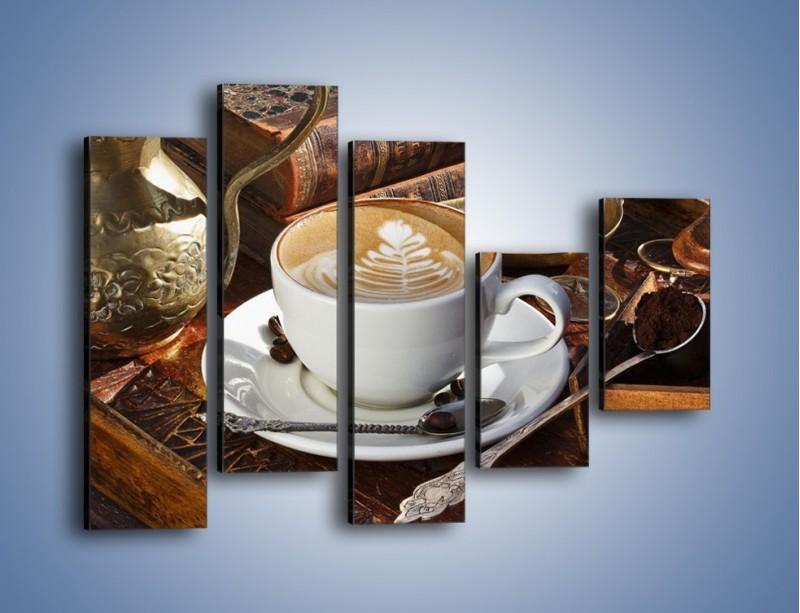 Obraz na płótnie – Wspomnienie przy kawie – pięcioczęściowy JN377W4