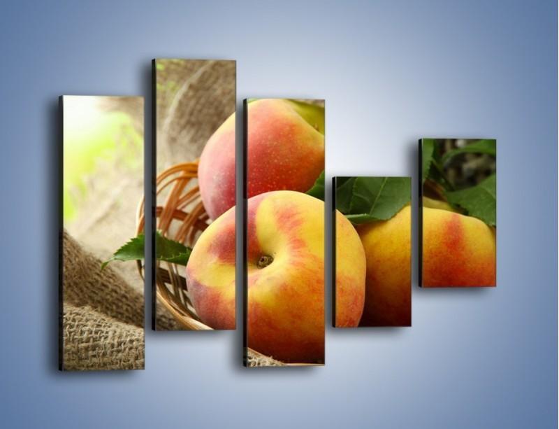 Obraz na płótnie – Dojrzałe jabłka w koszu – pięcioczęściowy JN390W4
