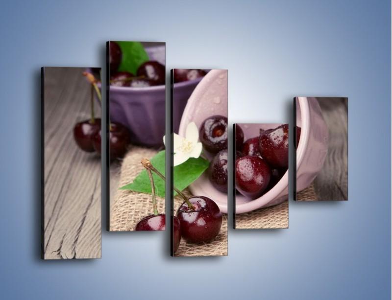 Obraz na płótnie – Wiśnie w małych pucharkach – pięcioczęściowy JN399W4