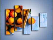 Obraz na płótnie – Brzoskwinie w drewnianej skrzyni – pięcioczęściowy JN404W4