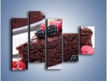 Obraz na płótnie – Czekoladowe brownie z owocami – pięcioczęściowy JN408W4