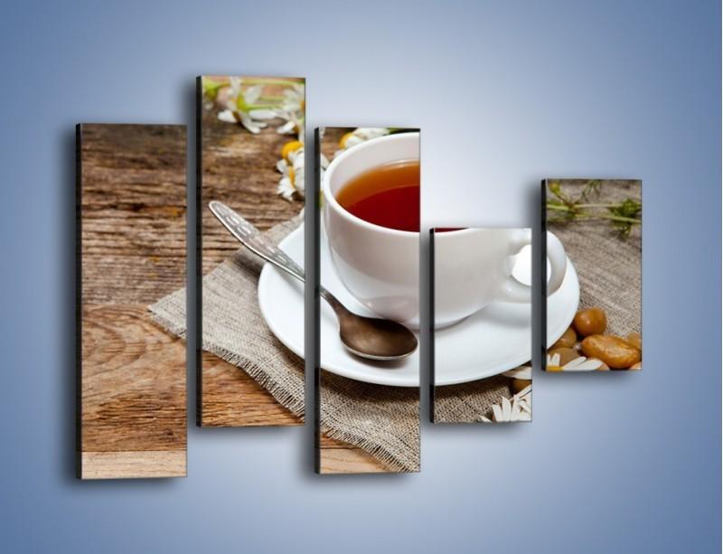 Obraz na płótnie – Herbata wśród stokrotek – pięcioczęściowy JN413W4