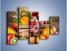 Obraz na płótnie – Skrzynia wypełniona owocami – pięcioczęściowy JN424W4