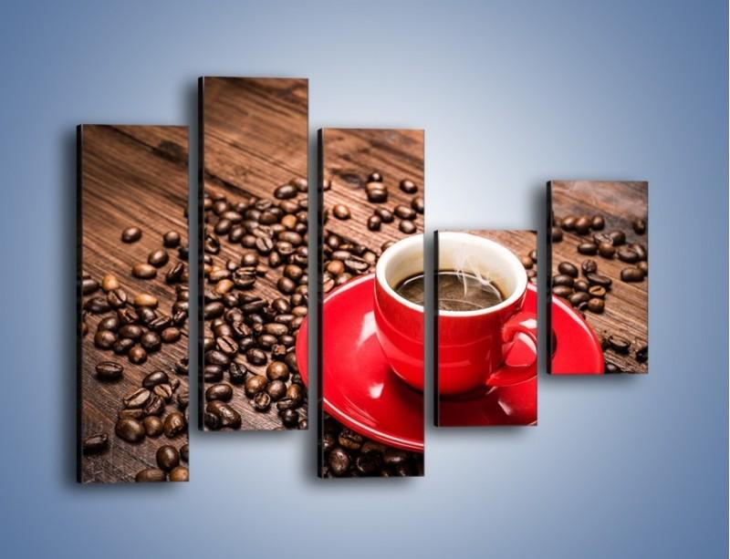 Obraz na płótnie – Kawa w czerwonej filiżance – pięcioczęściowy JN441W4