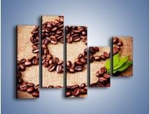 Obraz na płótnie – Wyraźny znak w kawie – pięcioczęściowy JN444W4