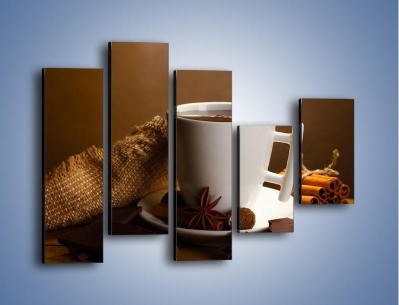 Obraz na płótnie – Gorąca czekolada z dodatkami – pięcioczęściowy JN452W4