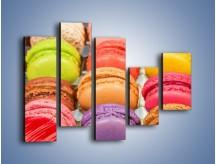 Obraz na płótnie – Słodkie babeczki w kolorach tęczy – pięcioczęściowy JN458W4