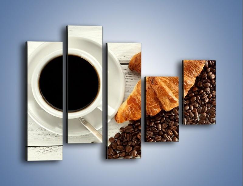 Obraz na płótnie – Kawa na białym stole – pięcioczęściowy JN462W4