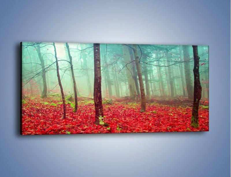 Obraz na płótnie – Drzewka na czerwonym dywanie – jednoczęściowy panoramiczny KN1222A