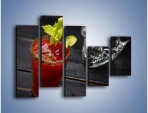 Obraz na płótnie – Czerwony drink z selerem – pięcioczęściowy JN751W4