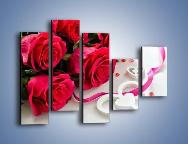 Obraz na płótnie – Róża z miłosnym przekazem – pięcioczęściowy K1011W4