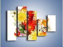 Obraz na płótnie – Bukiecik kwiatów z ogródka – pięcioczęściowy K118W4