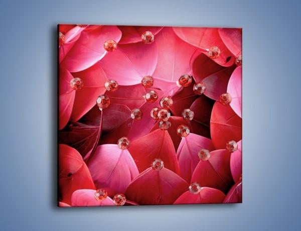 Obraz na płótnie – Koraliki wśród kwiatowych piór – jednoczęściowy kwadratowy K134