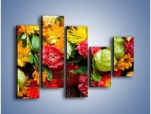 Obraz na płótnie – Bukiet pełen soczystych kolorów – pięcioczęściowy K461W4
