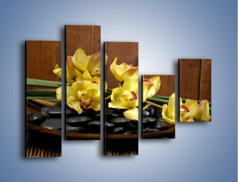 Obraz na płótnie – Kwiaty na drewnianym naczyniu – pięcioczęściowy K575W4