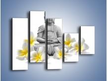 Obraz na płótnie – Budda w białych kwiatach – pięcioczęściowy K599W4